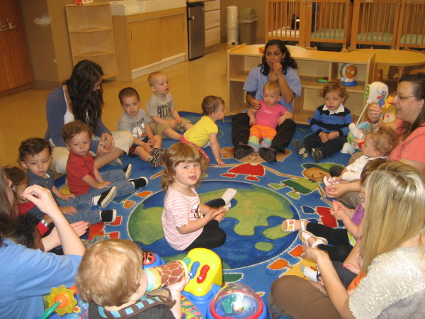 Our infant, young toddler class enjoy their sign language and phonics practice daily